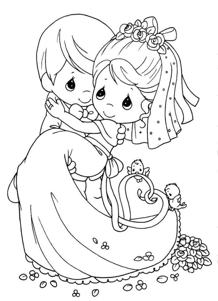 Надписью, свадебные картинки раскраска