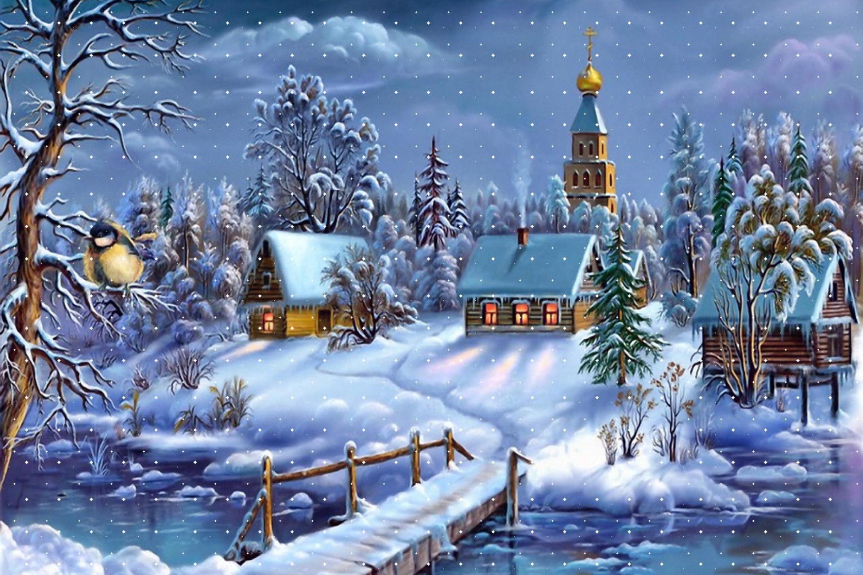 Открытки к рождеством христовым, падает снег городе