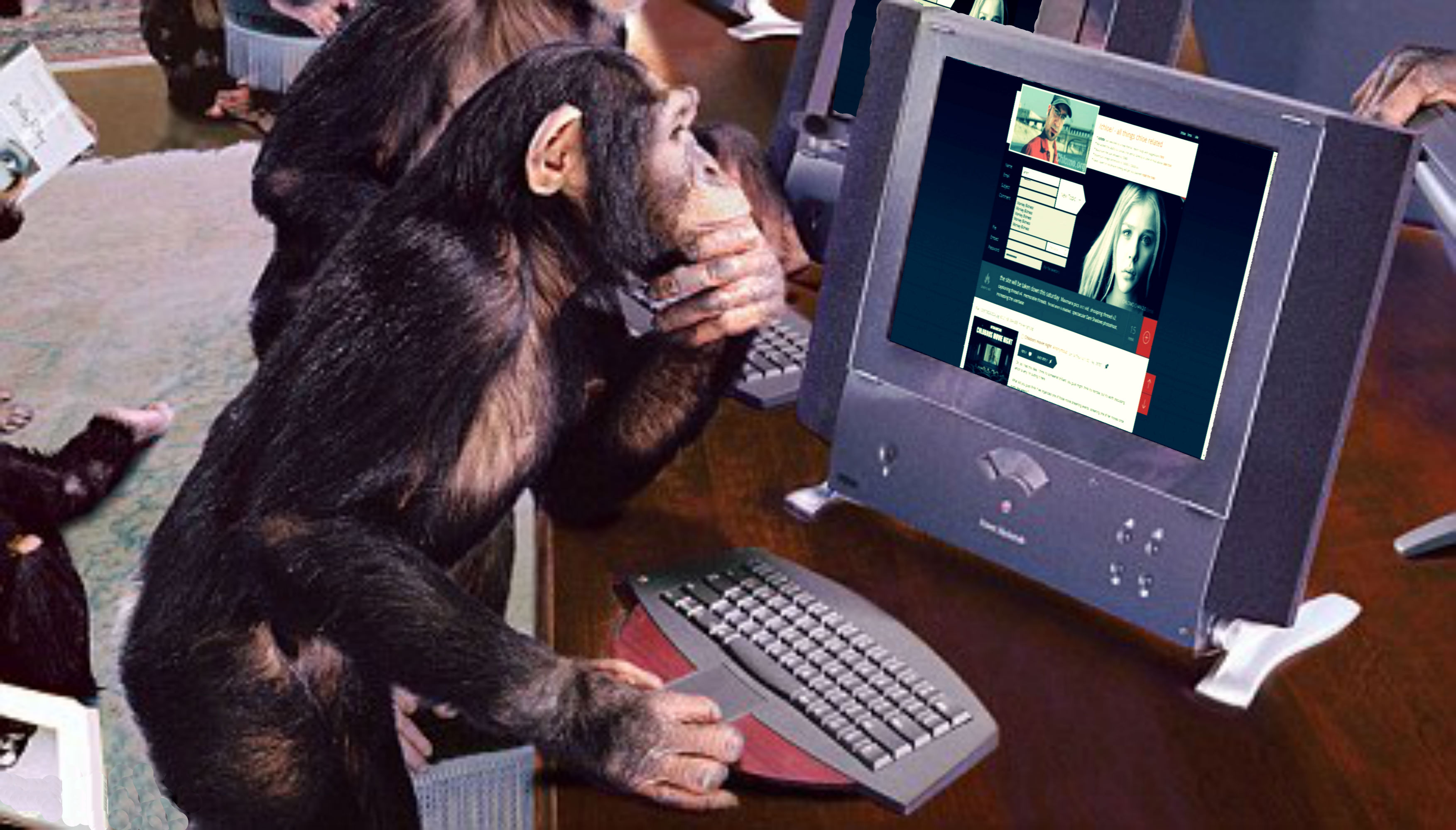 Картинка обезьяна за компом
