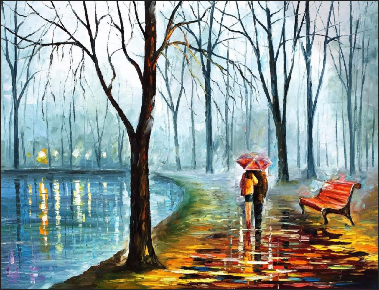 дождливая осень рисунок акварелью