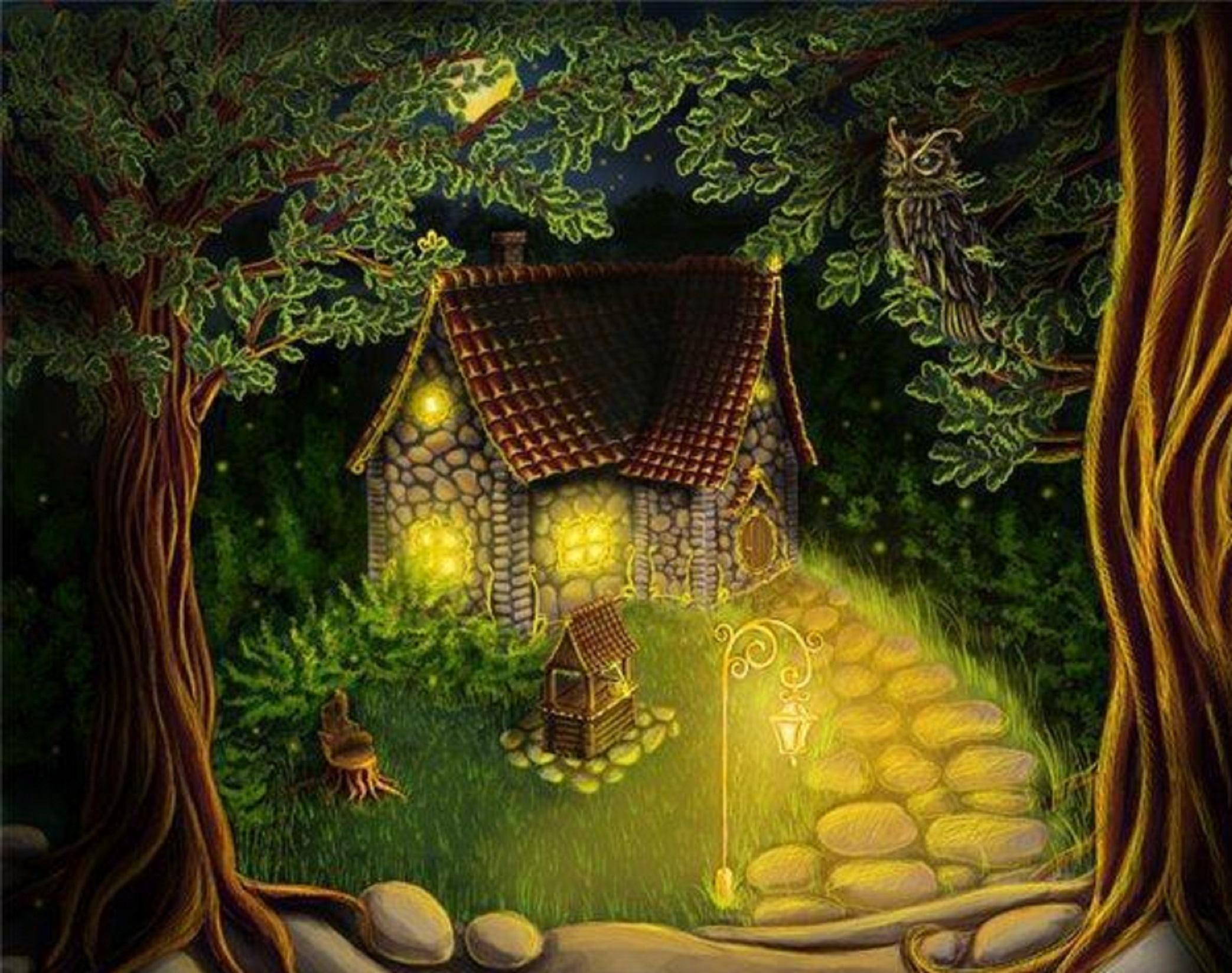 Картинка лес и дом для детей